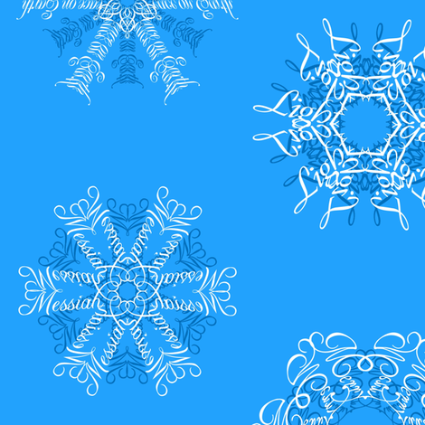 Calligraphic Christmas snowflakes on ice blue fabric by weavingmajor on Spoonflower - custom fabric