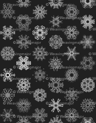 Calligraphic Christmas snowflakes on black