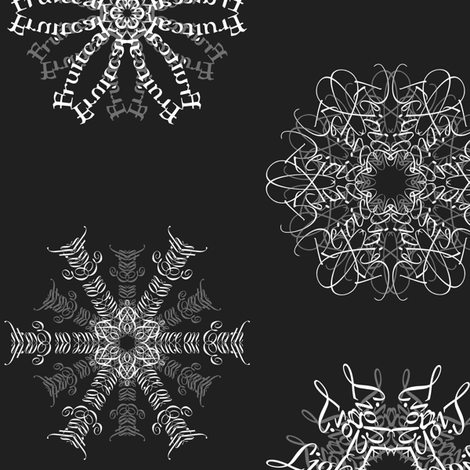 Calligraphic Christmas snowflakes on black fabric by weavingmajor on Spoonflower - custom fabric