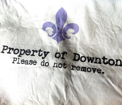 Property of Downton. Tea Towel. Fleur de Lis. Black & White & Lavender.