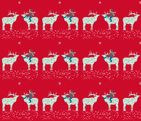 French script Reindeer on a magical night fabric by karenharveycox on Spoonflower - custom fabric
