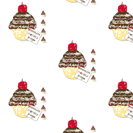 Chocolate cupcakes for everyone fabric by karenharveycox on Spoonflower - custom fabric