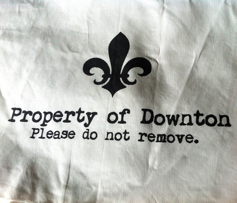 Property of Downton. Tea Towel. Fleur de Lis. Black & White.