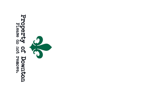 Property of Downton. Tea Towel. Fleur de Lis.  Green. fabric by bohobear on Spoonflower - custom fabric