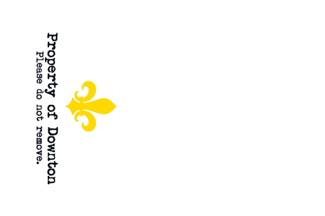 Property of Downton. Tea Towel. Fleur de Lis.   Yellow. fabric by bohobear on Spoonflower - custom fabric