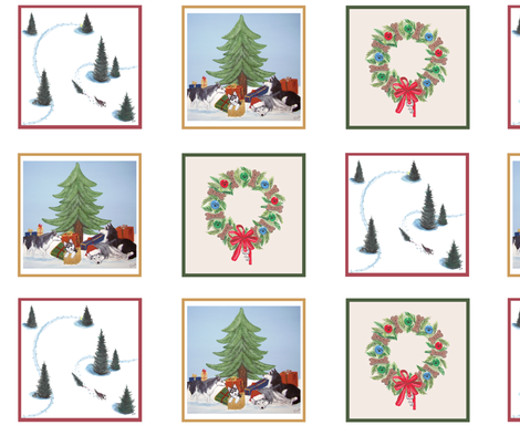 Xmas Husky napkins or ornaments  fabric by bonz_fabric_ on Spoonflower - custom fabric