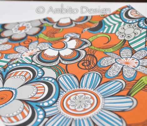 Mehndi Flowers in Orange Background