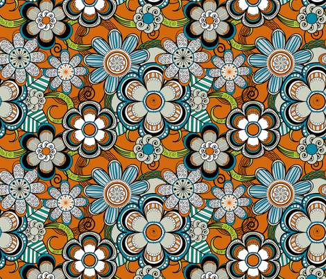Mehndi Flowers in Orange Background fabric by fridabarlow on Spoonflower - custom fabric