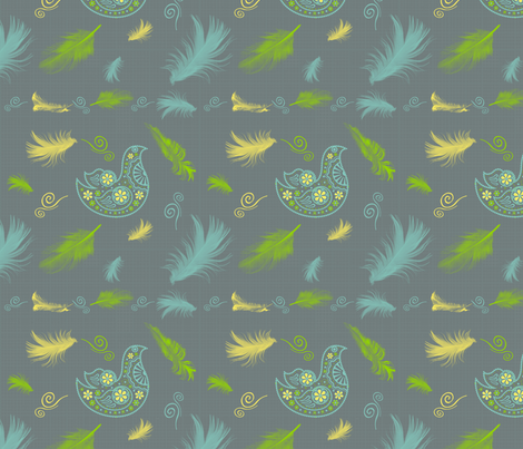 Feathers In The Wind_Flights Of Fancy_Contest fabric by jpdesigns on Spoonflower - custom fabric