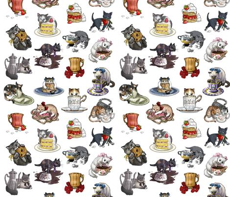Kitten Tea Party Full Tea Party Set fabric by ninniku on Spoonflower - custom fabric