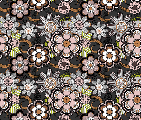 Mehndi Flowers in Dark Background fabric by pearl&phire on Spoonflower - custom fabric