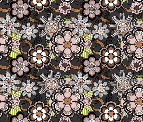 Mehndi Flowers in Dark Background fabric by fridabarlow on Spoonflower - custom fabric