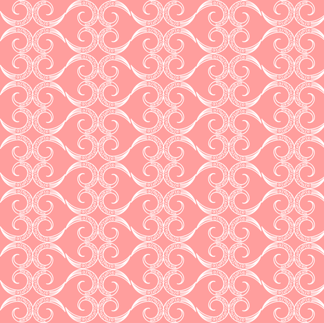 Mehndi Heart: Pink Coral fabric by pearl&phire on Spoonflower - custom fabric