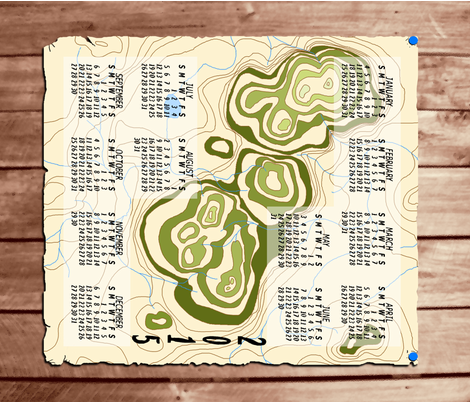 Small Old_Map_Calendar_2015 fabric by khowardquilts on Spoonflower - custom fabric