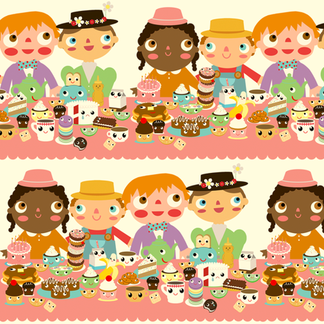 tea party people fabric by heidikenney on Spoonflower - custom fabric