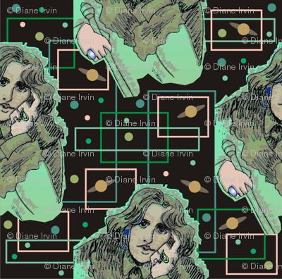 Oscar Wilde in Greens with Planetary Circuitboard