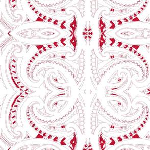 Tribal Koru red and white