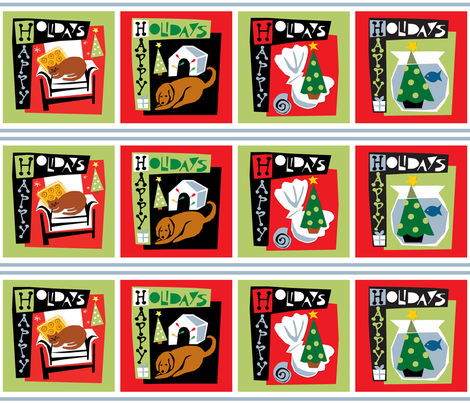 Happy Holidays with my pets - Christmas  dog cat tree fabric by ottomanbrim on Spoonflower - custom fabric
