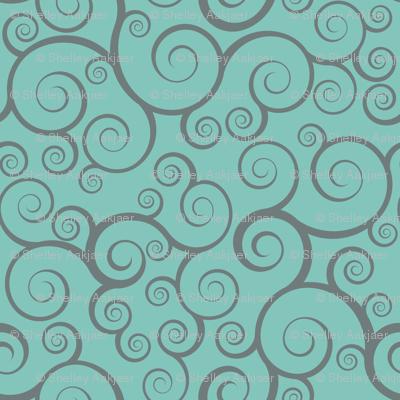 Fancy Swirls - Teal