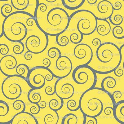 Fancy Swirls - Yellow
