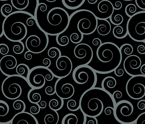 Fancy Swirls - Black fabric by shelleymade on Spoonflower - custom fabric