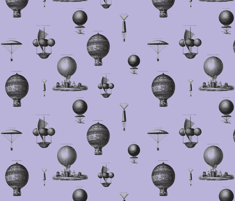 Hot air balloons - purple background fabric by ravynka on Spoonflower - custom fabric