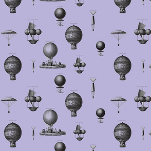 Hot air balloons - purple background