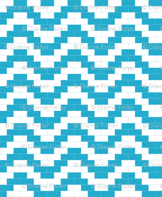 Brick Zigzag - Turquoise