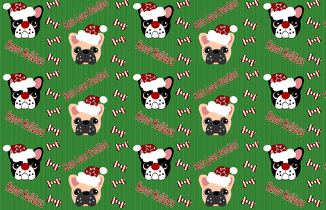 Santa Loves Frenchies!   fabric by missyq on Spoonflower - custom fabric