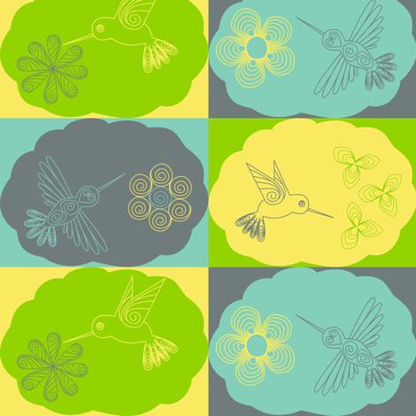 Hummingbird fabric by loopy_canadian on Spoonflower - custom fabric