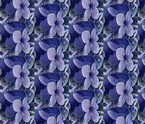 Lucile's hydrangeas - lavender black edge fabric by technorican on Spoonflower - custom fabric