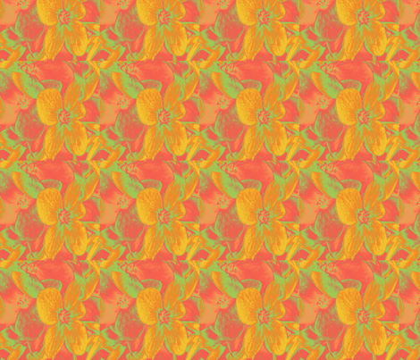 Lucile's hydrangeas - yellow & orange #1 fabric by technorican on Spoonflower - custom fabric