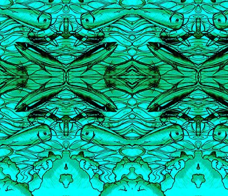 Mahi Opa Ahi Aqua print fabric by waiomaotiki on Spoonflower - custom fabric