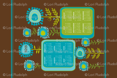 Funky Flowers 2013 Calendar ~ Tea Towel (sized for Linen-cotton canvas)