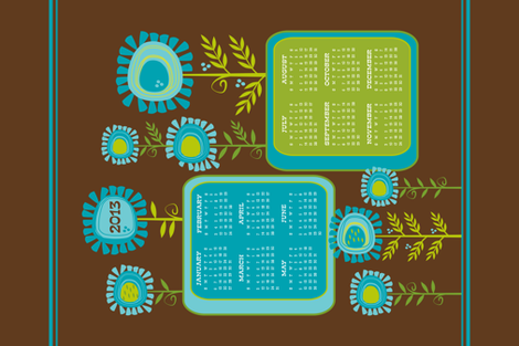 Funky Flowers 2013 Calendar ~ Tea Towel (sized for Linen-cotton canvas) fabric by retrorudolphs on Spoonflower - custom fabric
