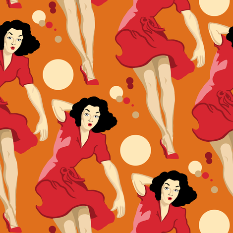 Autumn Pin Up fabric by lusykoror on Spoonflower - custom fabric
