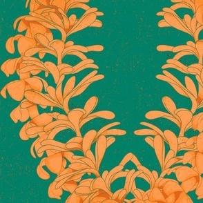 Puakinikini yellow-orange Lei, tiare flower