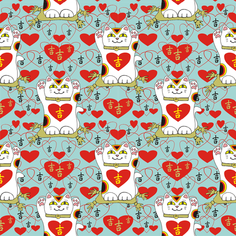 I Heart Being Lucky in Light Teal fabric by 3catsgraphics on Spoonflower - custom fabric