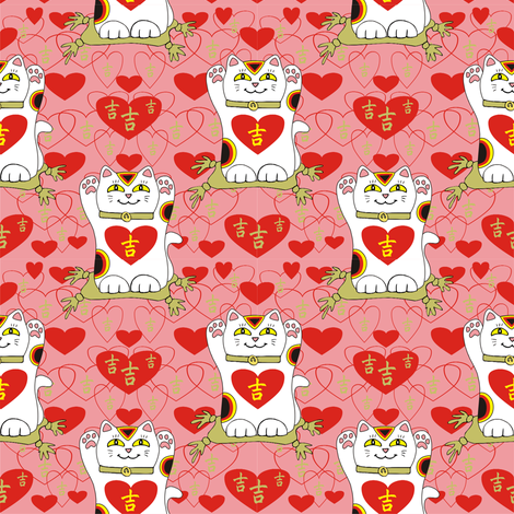 I Heart Being Lucky in Pink fabric by 3catsgraphics on Spoonflower - custom fabric