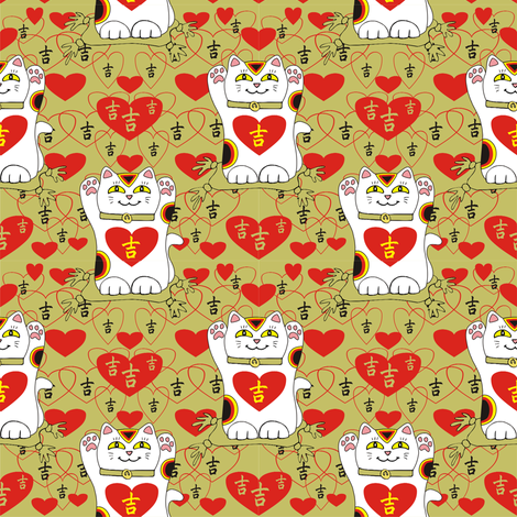 I Heart Being Lucky in Gold fabric by 3catsgraphics on Spoonflower - custom fabric