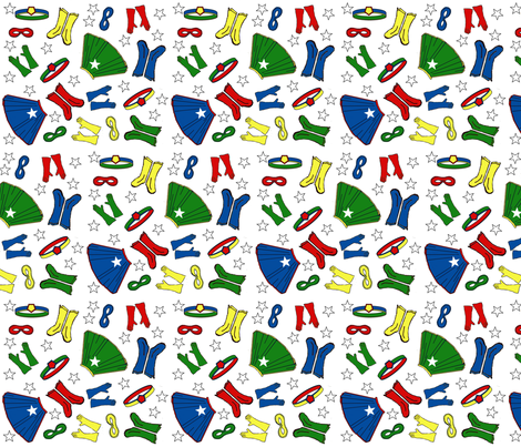 Hero_Gear_Tossed_Print fabric by joofalltrades on Spoonflower - custom fabric