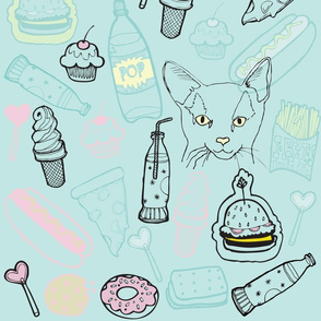 WALLPAPER: treat yo self-aqua-withcat-18x21