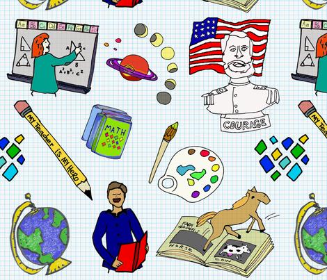 My_Teacher_Is_My_Hero fabric by colorfulartgirl on Spoonflower - custom fabric