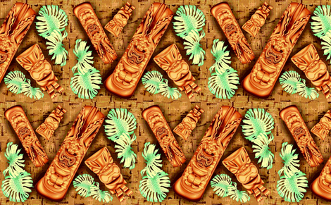 Tiki Monstera Hawaiiana fabric by waiomaotiki on Spoonflower - custom fabric