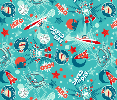 Saves the day multi directional fabric by cjldesigns on Spoonflower - custom fabric