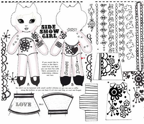 side-show girl B&W II fabric by eat_my_sweet_dust on Spoonflower - custom fabric
