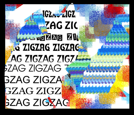 """Just ZigZag from """"Only the Cat Saw"""" (large scale design) fabric by anniedeb on Spoonflower - custom fabric"""