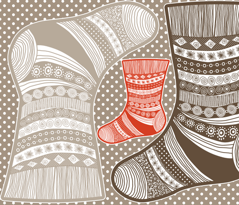 christmass_stocking_natural fabric by nadja_petremand on Spoonflower - custom fabric