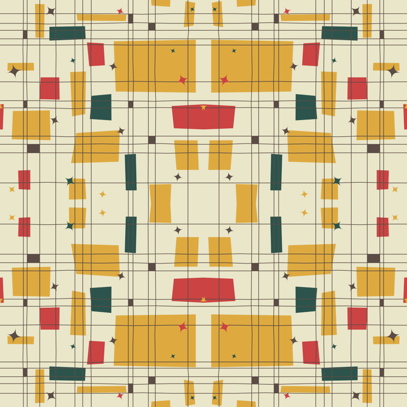 Mid Century Modern   Grid U0026 Stars Wallpaper   Studiofibonacci   Spoonflower