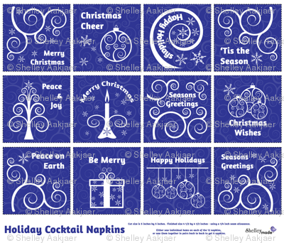 Curly Swirly Holiday Cocktail Napkins